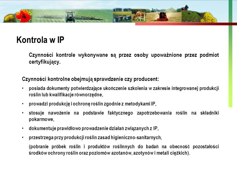 Państwowa Inspekcja Ochrony Roślin i Nasiennictwa Czynności kontrole wykonywane są przez osoby upoważnione przez podmiot certyfikujący. Czynności kont