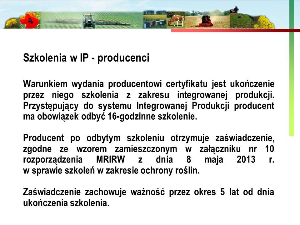 Państwowa Inspekcja Ochrony Roślin i Nasiennictwa Szkolenia w IP - producenci Warunkiem wydania producentowi certyfikatu jest ukończenie przez niego s