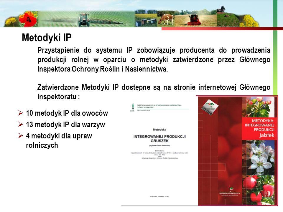 Państwowa Inspekcja Ochrony Roślin i Nasiennictwa Metodyki IP Przystąpienie do systemu IP zobowiązuje producenta do prowadzenia produkcji rolnej w opa
