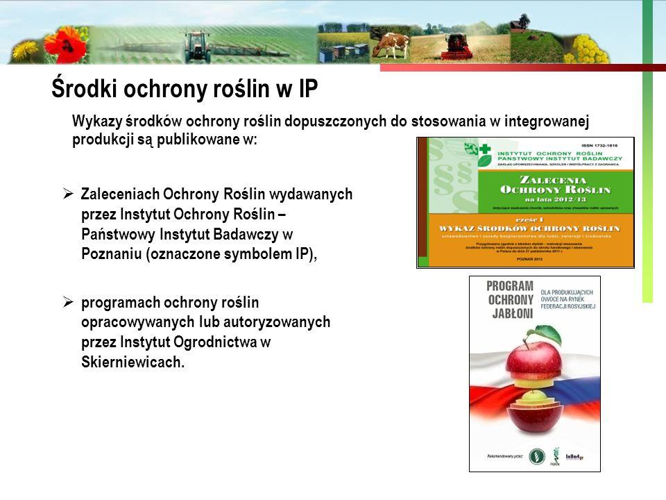 Państwowa Inspekcja Ochrony Roślin i Nasiennictwa Środki ochrony roślin w IP  Zaleceniach Ochrony Roślin wydawanych przez Instytut Ochrony Roślin – P