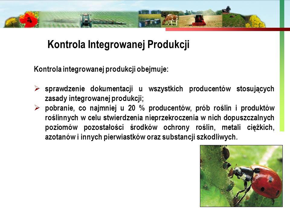 Państwowa Inspekcja Ochrony Roślin i Nasiennictwa Kontrola Integrowanej Produkcji Kontrola integrowanej produkcji obejmuje:  sprawdzenie dokumentacji