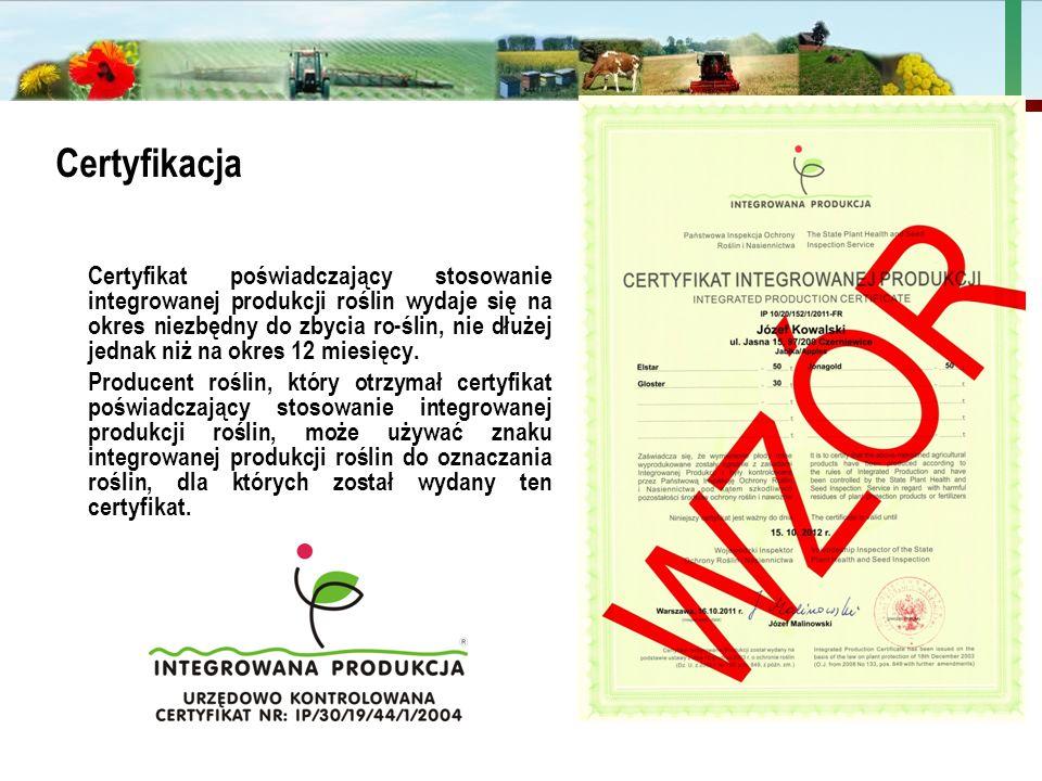 Państwowa Inspekcja Ochrony Roślin i Nasiennictwa Certyfikacja Certyfikat poświadczający stosowanie integrowanej produkcji roślin wydaje się na okres