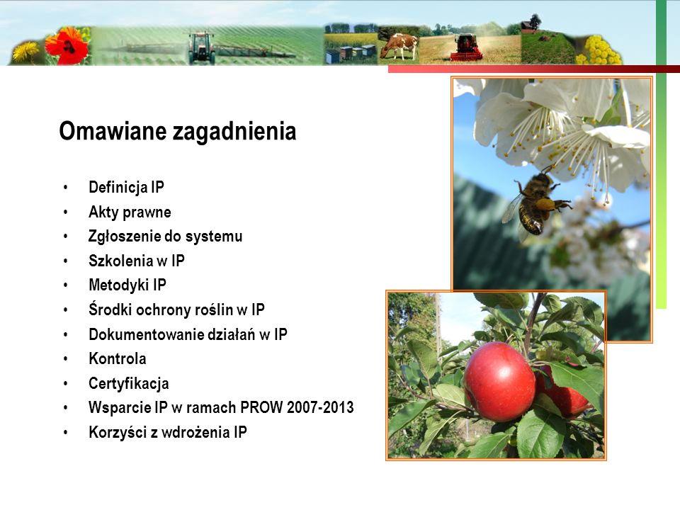 Państwowa Inspekcja Ochrony Roślin i Nasiennictwa Definicja IP Akty prawne Zgłoszenie do systemu Szkolenia w IP Metodyki IP Środki ochrony roślin w IP