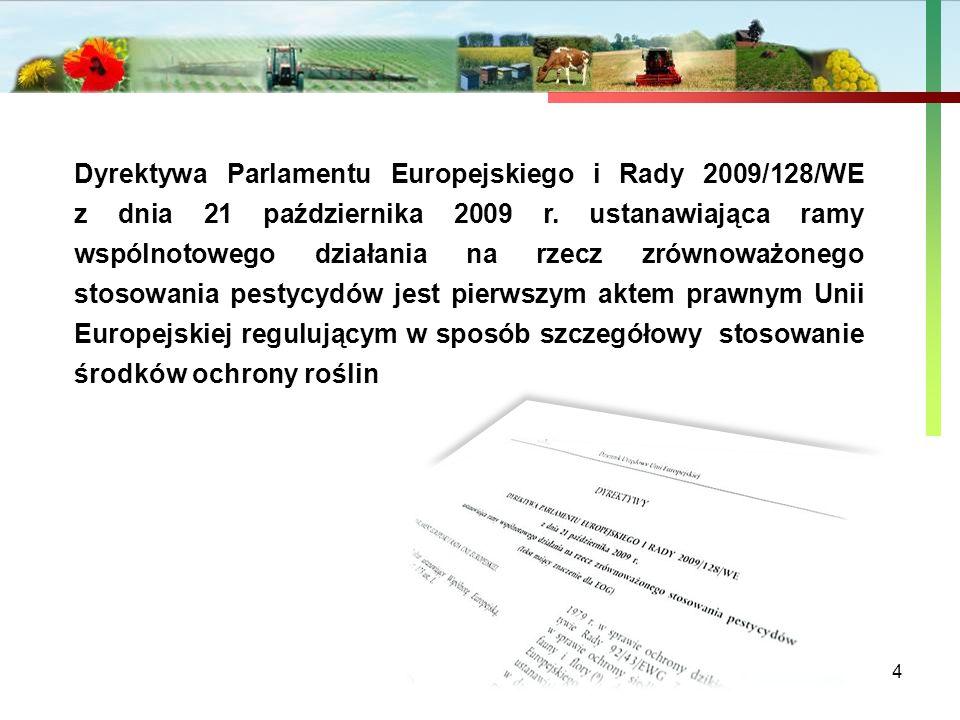 Państwowa Inspekcja Ochrony Roślin i Nasiennictwa 4 Dyrektywa Parlamentu Europejskiego i Rady 2009/128/WE z dnia 21 października 2009 r. ustanawiająca