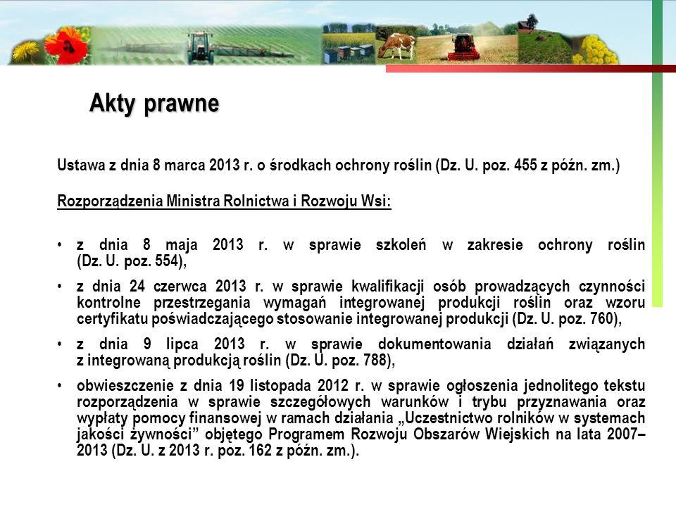Państwowa Inspekcja Ochrony Roślin i Nasiennictwa Ustawa z dnia 8 marca 2013 r. o środkach ochrony roślin (Dz. U. poz. 455 z późn. zm.) Rozporządzenia