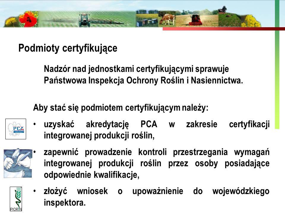 Państwowa Inspekcja Ochrony Roślin i Nasiennictwa Podmioty certyfikujące Nadzór nad jednostkami certyfikującymi sprawuje Państwowa Inspekcja Ochrony R