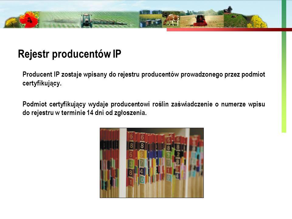 Państwowa Inspekcja Ochrony Roślin i Nasiennictwa Rejestr producentów IP Producent IP zostaje wpisany do rejestru producentów prowadzonego przez podmi