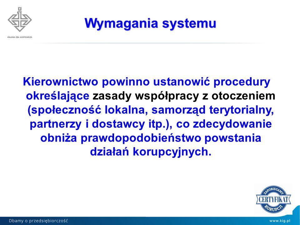 Kierownictwo powinno ustanowić procedury określające zasady współpracy z otoczeniem (społeczność lokalna, samorząd terytorialny, partnerzy i dostawcy