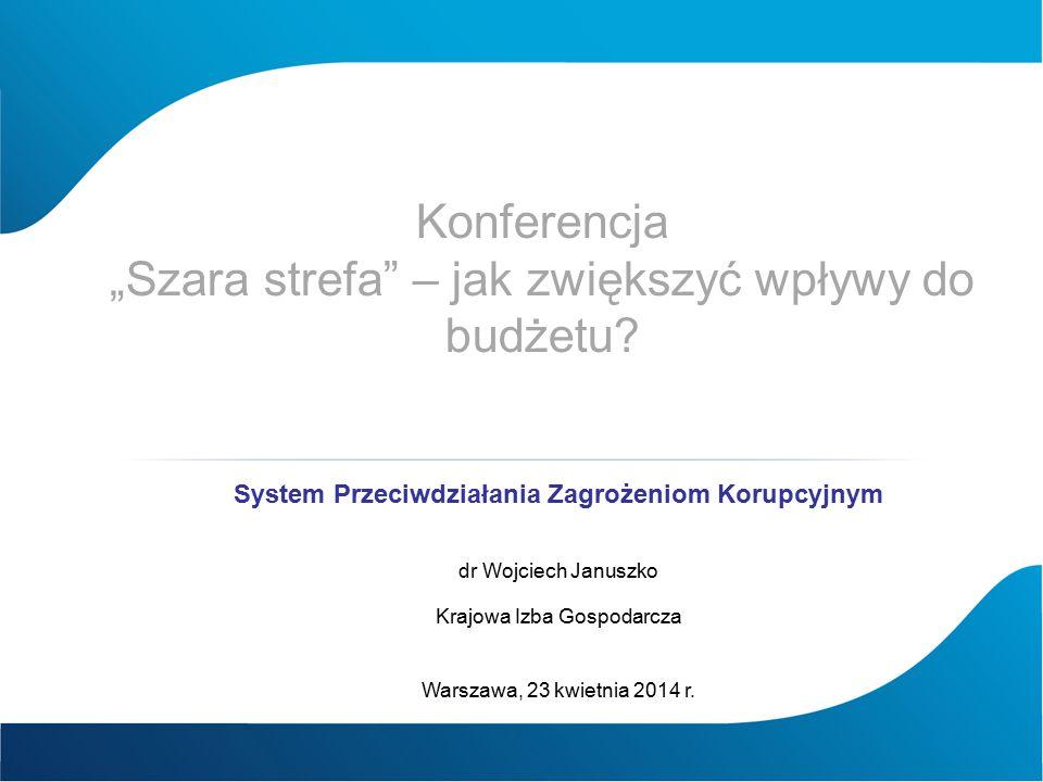 """Konferencja """"Szara strefa"""" – jak zwiększyć wpływy do budżetu? System Przeciwdziałania Zagrożeniom Korupcyjnym dr Wojciech Januszko Krajowa Izba Gospod"""