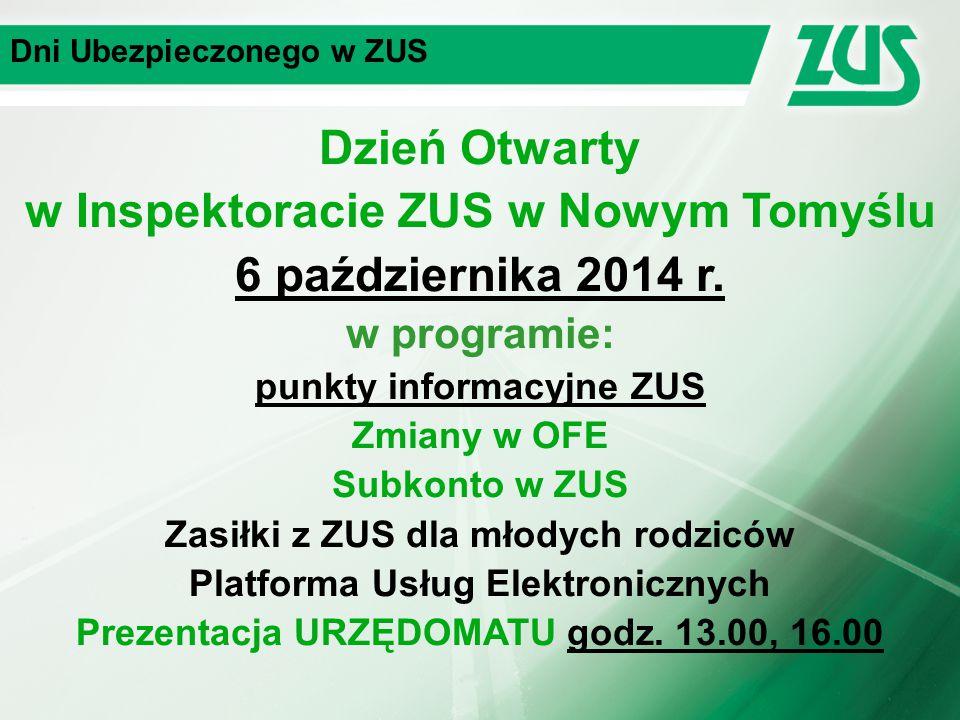 Dni Ubezpieczonego w ZUS Zasiłki z ZUS dla młodych rodziców dyżur telefoniczny eksperta ZUS 9 października 2014 r.