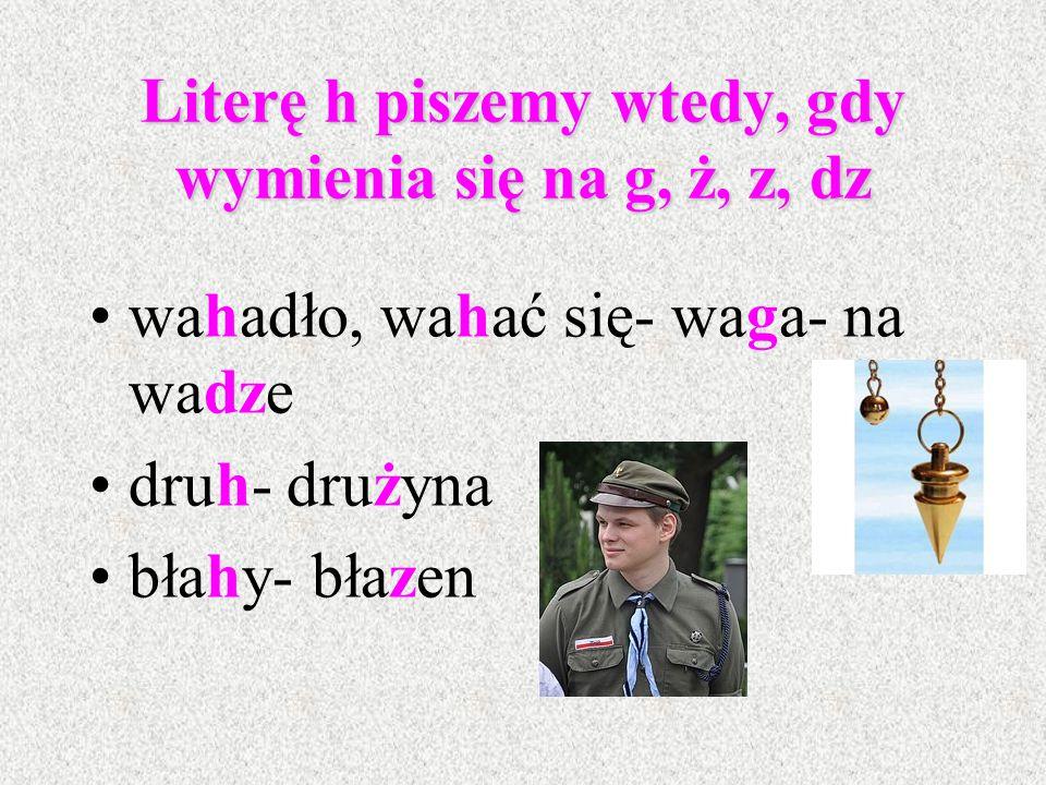 Zasady pisowni litery h - h występuje jedynie w wyrazach obcego pochodzenia, np. h ak, h ałas, h armonia, h erbata, h umor, historia, hiperbola, hemof