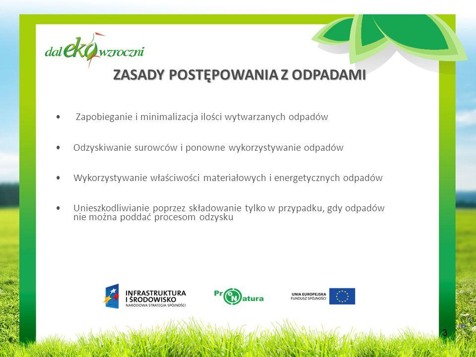 ZASADY POSTĘPOWANIA Z ODPADAMI Zapobieganie i minimalizacja ilości wytwarzanych odpadów Odzyskiwanie surowców i ponowne wykorzystywanie odpadów Wykorzystywanie właściwości materiałowych i energetycznych odpadów Unieszkodliwianie poprzez składowanie tylko w przypadku, gdy odpadów nie można poddać procesom odzysku 3