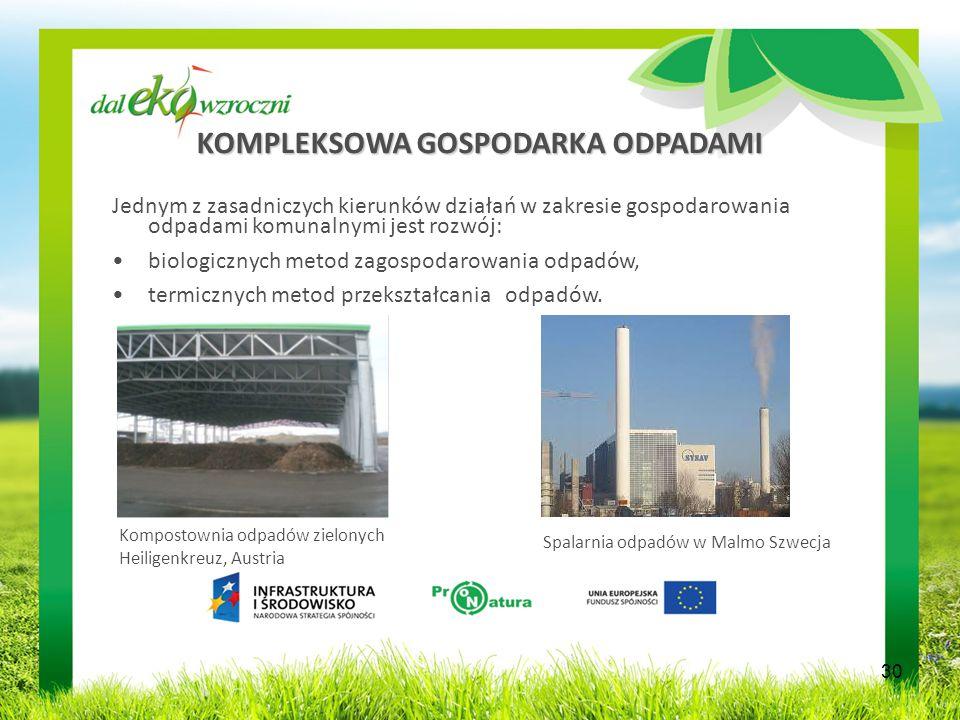 KOMPLEKSOWA GOSPODARKA ODPADAMI Jednym z zasadniczych kierunków działań w zakresie gospodarowania odpadami komunalnymi jest rozwój: biologicznych metod zagospodarowania odpadów, termicznych metod przekształcania odpadów.