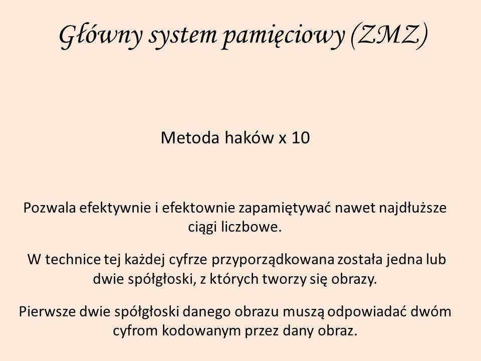 Główny system pamięciowy (ZMZ) Metoda haków x 10 Pozwala efektywnie i efektownie zapamiętywać nawet najdłuższe ciągi liczbowe. W technice tej każdej c
