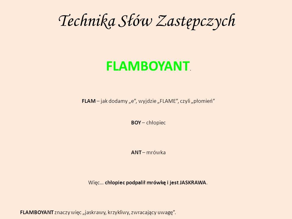 """Technika Słów Zastępczych FLAMBOYANT. FLAM – jak dodamy """"e"""", wyjdzie """"FLAME"""", czyli """"płomień"""" BOY – chłopiec ANT – mrówka Więc… chłopiec podpalił mrów"""