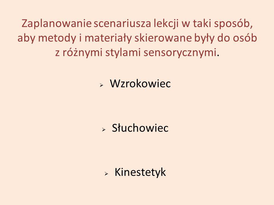 Zaplanowanie scenariusza lekcji w taki sposób, aby metody i materiały skierowane były do osób z różnymi stylami sensorycznymi.  Wzrokowiec  Słuchowi