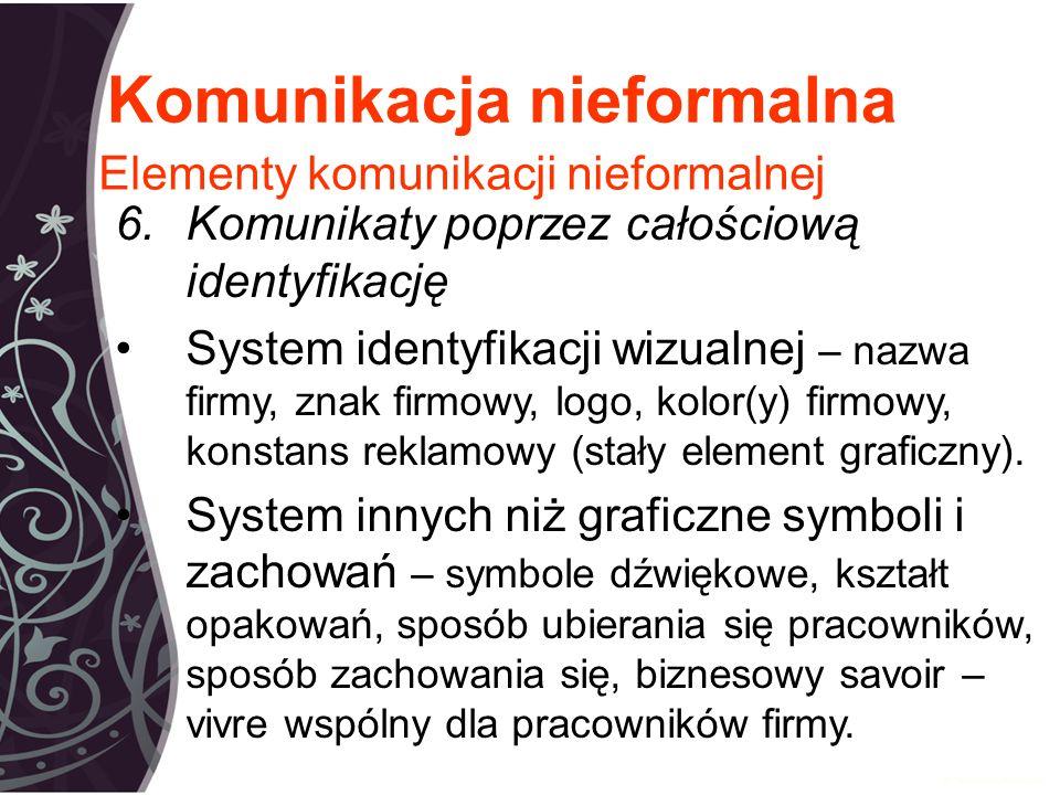 Komunikacja nieformalna 6.Komunikaty poprzez całościową identyfikację System identyfikacji wizualnej – nazwa firmy, znak firmowy, logo, kolor(y) firmowy, konstans reklamowy (stały element graficzny).
