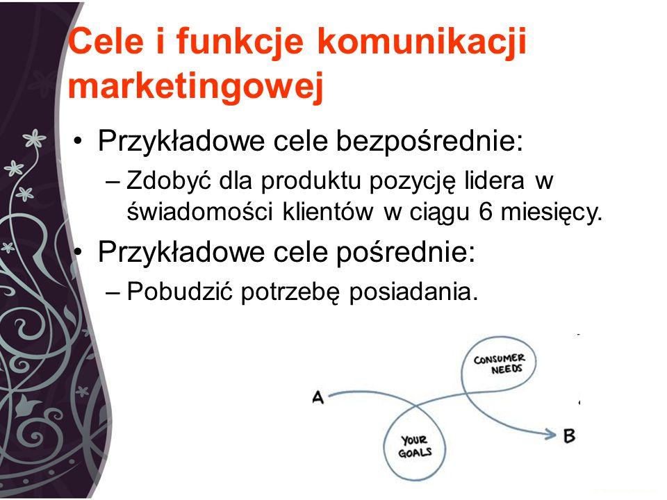 Cele i funkcje komunikacji marketingowej Przykładowe cele bezpośrednie: –Zdobyć dla produktu pozycję lidera w świadomości klientów w ciągu 6 miesięcy.
