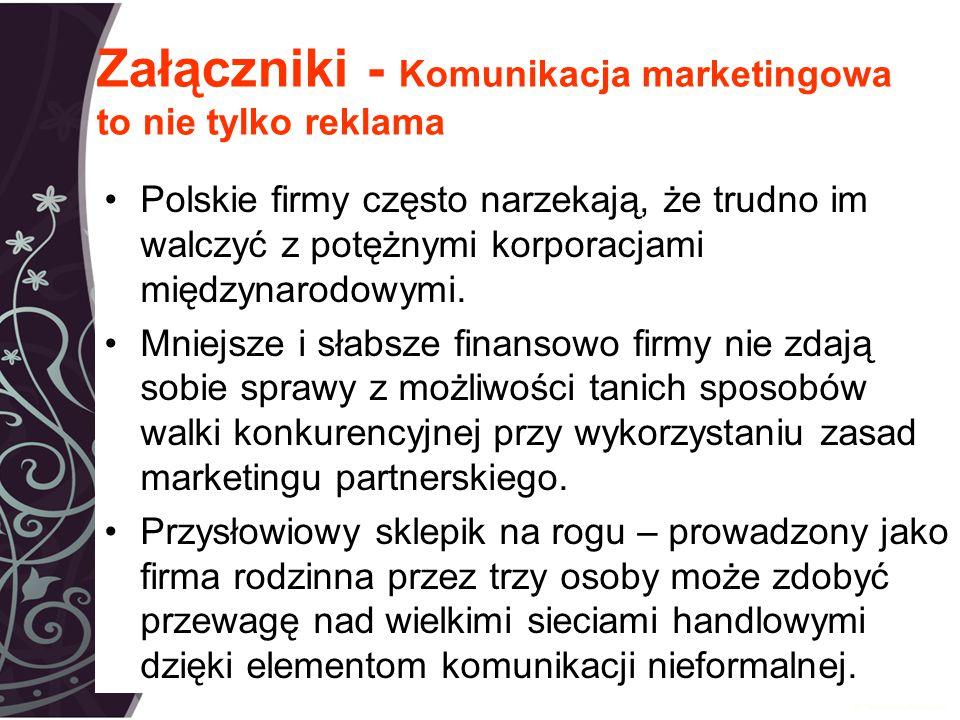 Załączniki - Komunikacja marketingowa to nie tylko reklama Polskie firmy często narzekają, że trudno im walczyć z potężnymi korporacjami międzynarodowymi.