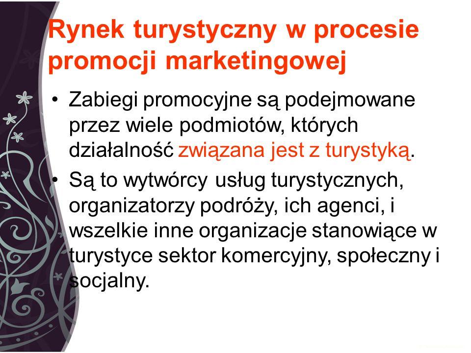 Rynek turystyczny w procesie promocji marketingowej Zabiegi promocyjne są podejmowane przez wiele podmiotów, których działalność związana jest z turystyką.