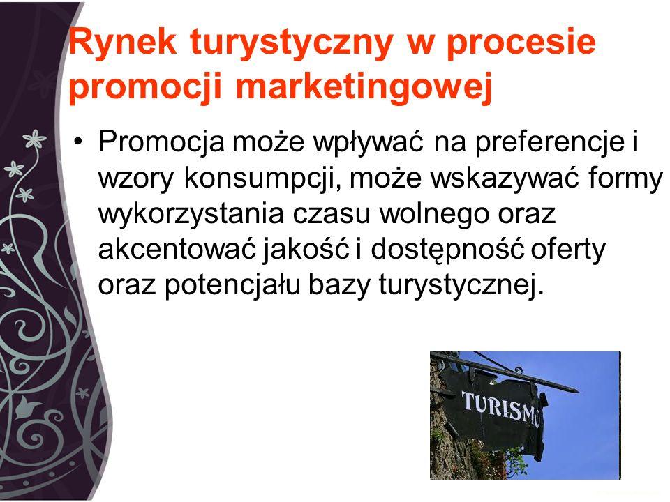 Rynek turystyczny w procesie promocji marketingowej Promocja może wpływać na preferencje i wzory konsumpcji, może wskazywać formy wykorzystania czasu wolnego oraz akcentować jakość i dostępność oferty oraz potencjału bazy turystycznej.