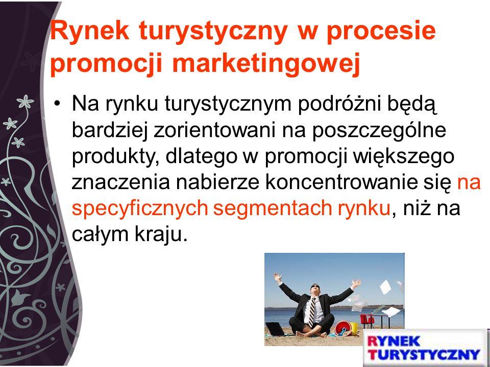 Rynek turystyczny w procesie promocji marketingowej Na rynku turystycznym podróżni będą bardziej zorientowani na poszczególne produkty, dlatego w promocji większego znaczenia nabierze koncentrowanie się na specyficznych segmentach rynku, niż na całym kraju.