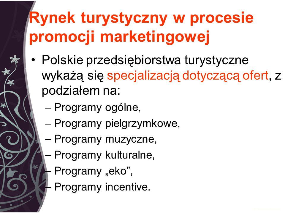 """Rynek turystyczny w procesie promocji marketingowej Polskie przedsiębiorstwa turystyczne wykażą się specjalizacją dotyczącą ofert, z podziałem na: –Programy ogólne, –Programy pielgrzymkowe, –Programy muzyczne, –Programy kulturalne, –Programy """"eko , –Programy incentive."""