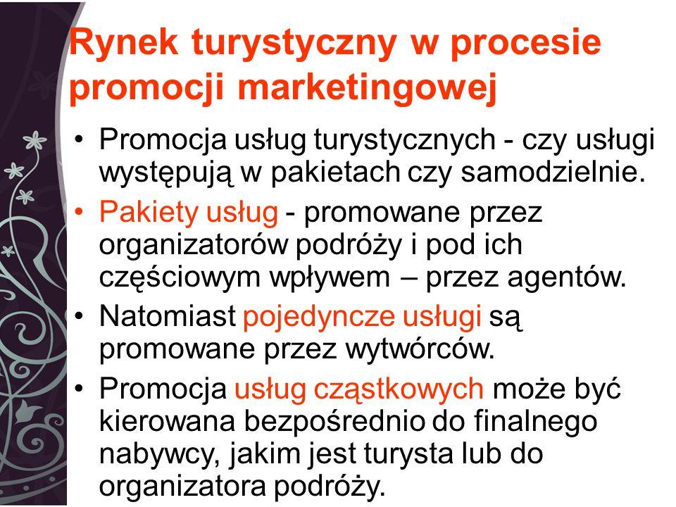 Rynek turystyczny w procesie promocji marketingowej Promocja usług turystycznych - czy usługi występują w pakietach czy samodzielnie.