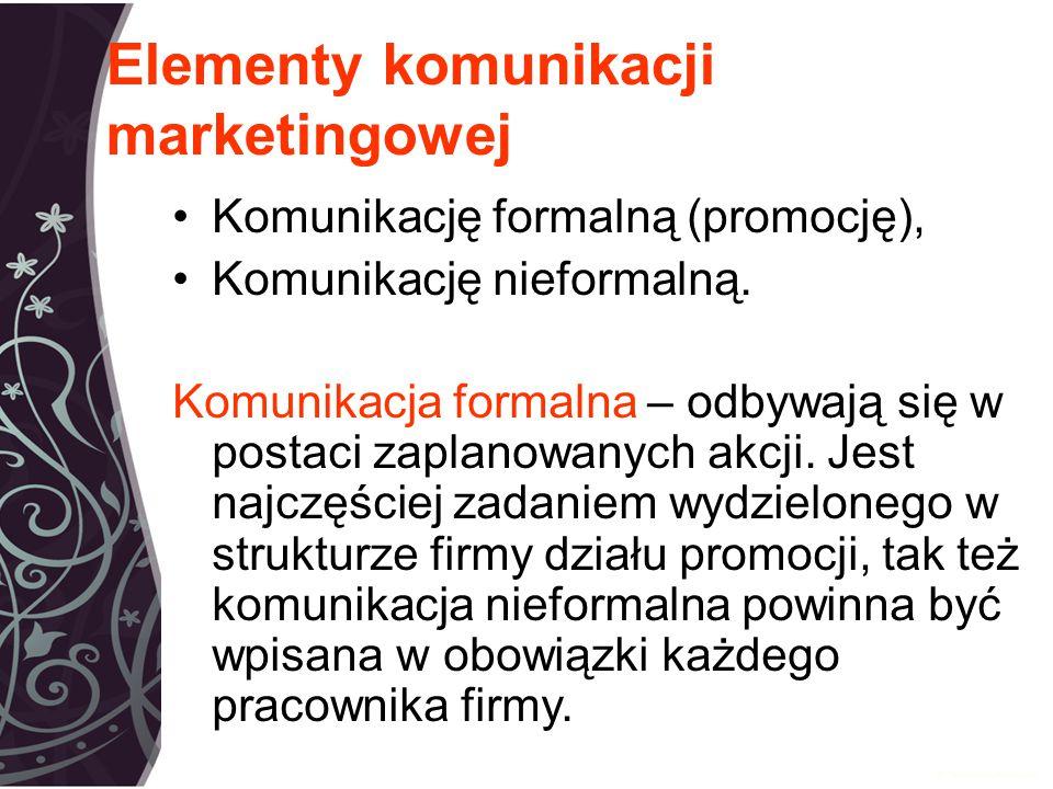 Elementy komunikacji marketingowej Komunikację formalną (promocję), Komunikację nieformalną.