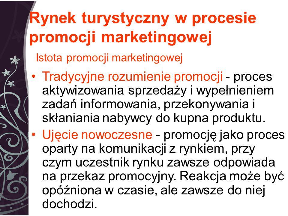 Rynek turystyczny w procesie promocji marketingowej Tradycyjne rozumienie promocji - proces aktywizowania sprzedaży i wypełnieniem zadań informowania, przekonywania i skłaniania nabywcy do kupna produktu.