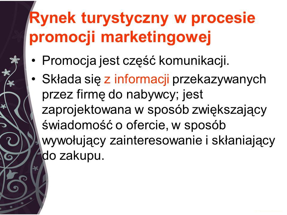 Rynek turystyczny w procesie promocji marketingowej Promocja jest część komunikacji.