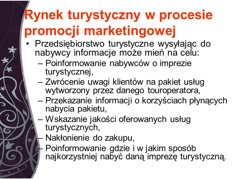 Rynek turystyczny w procesie promocji marketingowej Przedsiębiorstwo turystyczne wysyłając do nabywcy informacje może mień na celu: –Poinformowanie nabywców o imprezie turystycznej, –Zwrócenie uwagi klientów na pakiet usług wytworzony przez danego touroperatora, –Przekazanie informacji o korzyściach płynących nabycia pakietu, –Wskazanie jakości oferowanych usług turystycznych, –Nakłonienie do zakupu, –Poinformowanie gdzie i w jakim sposób najkorzystniej nabyć daną imprezę turystyczną.
