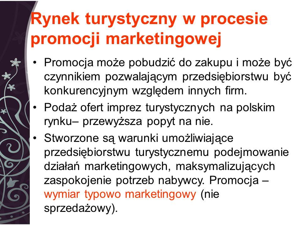 Rynek turystyczny w procesie promocji marketingowej Promocja może pobudzić do zakupu i może być czynnikiem pozwalającym przedsiębiorstwu być konkurencyjnym względem innych firm.