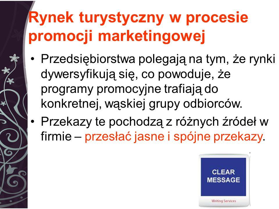 Rynek turystyczny w procesie promocji marketingowej Przedsiębiorstwa polegają na tym, że rynki dywersyfikują się, co powoduje, że programy promocyjne trafiają do konkretnej, wąskiej grupy odbiorców.