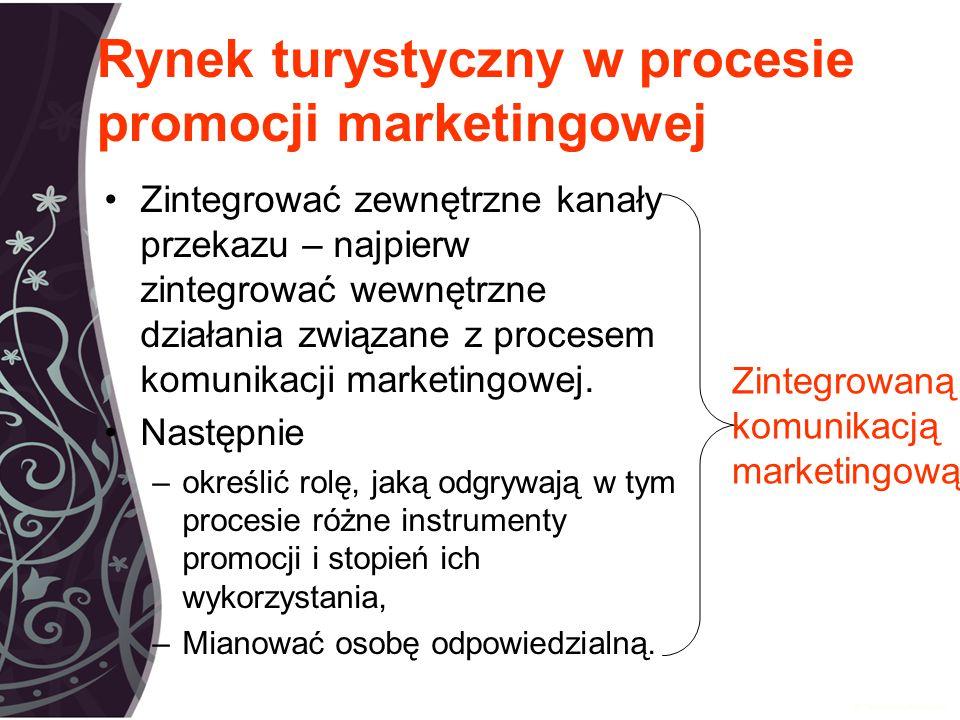 Rynek turystyczny w procesie promocji marketingowej Zintegrować zewnętrzne kanały przekazu – najpierw zintegrować wewnętrzne działania związane z procesem komunikacji marketingowej.