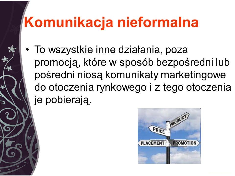 Komunikacja nieformalna To wszystkie inne działania, poza promocją, które w sposób bezpośredni lub pośredni niosą komunikaty marketingowe do otoczenia rynkowego i z tego otoczenia je pobierają.