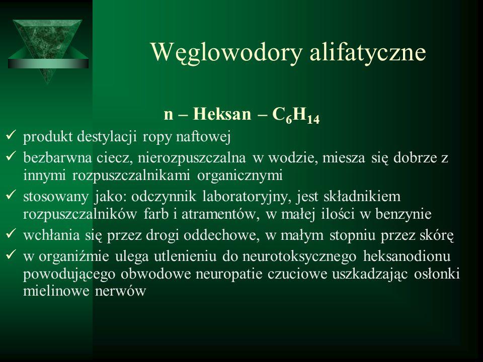 Węglowodory alifatyczne n – Heksan – C 6 H 14 produkt destylacji ropy naftowej bezbarwna ciecz, nierozpuszczalna w wodzie, miesza się dobrze z innymi