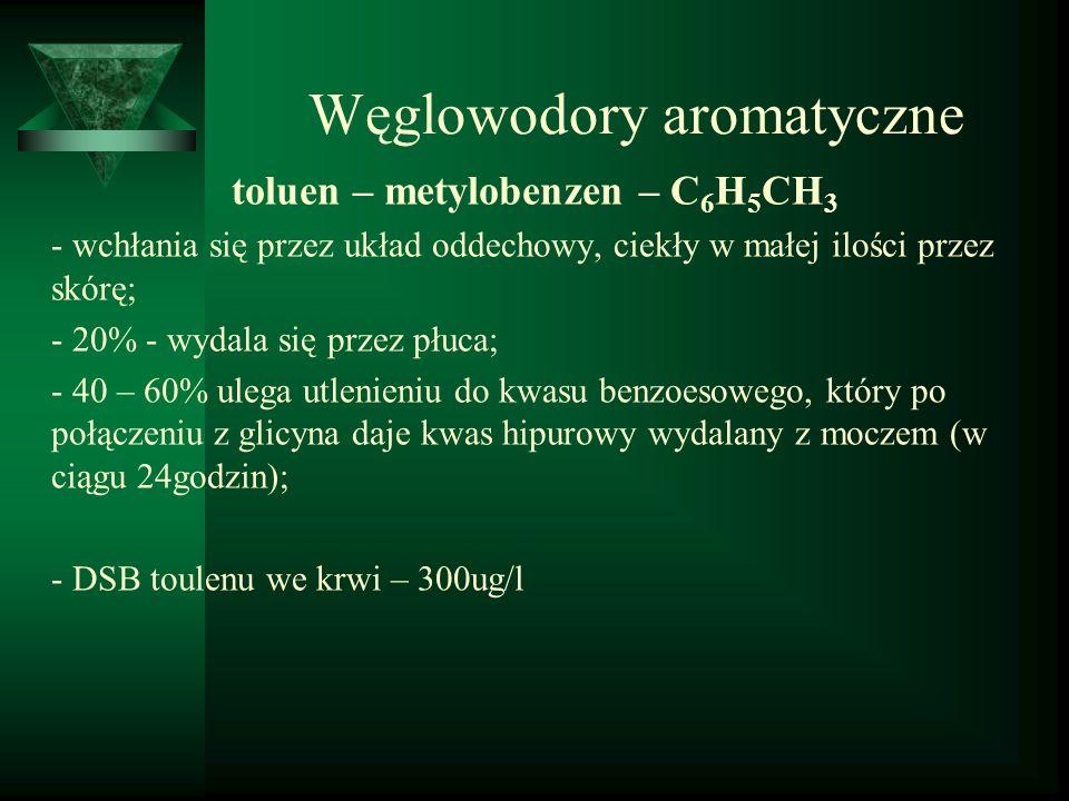 Węglowodory aromatyczne toluen – metylobenzen – C 6 H 5 CH 3 - wchłania się przez układ oddechowy, ciekły w małej ilości przez skórę; - 20% - wydala s