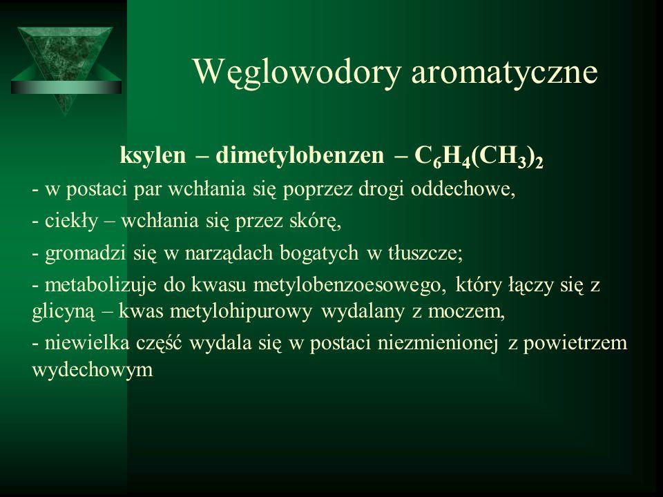 Węglowodory aromatyczne ksylen – dimetylobenzen – C 6 H 4 (CH 3 ) 2 - w postaci par wchłania się poprzez drogi oddechowe, - ciekły – wchłania się prze