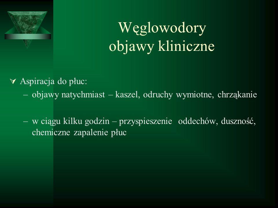 Węglowodory patofizjologia układ oddechowy  toksyczność wynika zwykle z aspiracji lub dyfuzji węglowodoru  słaba rozpuszczalność w wodzie, głęboka penetracja – skurcz oskrzeli, odczyn zapalny