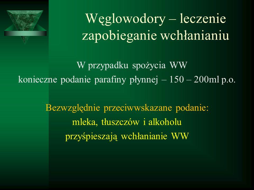 Węglowodory – leczenie zapobieganie wchłanianiu W przypadku spożycia WW konieczne podanie parafiny płynnej – 150 – 200ml p.o. Bezwzględnie przeciwwska