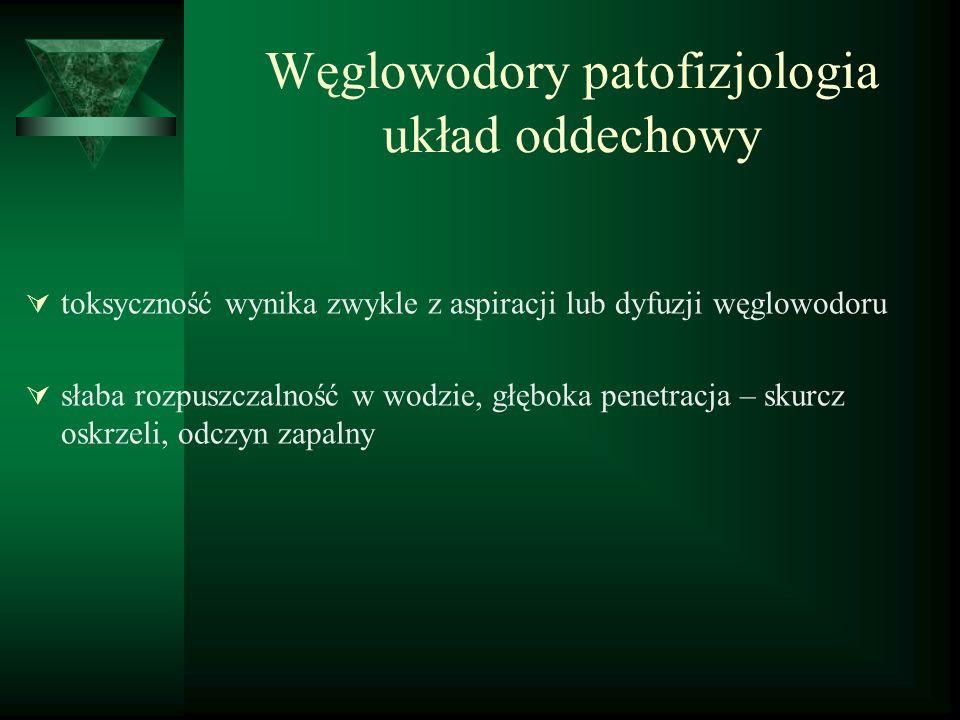 Węglowodory aromatyczne toluen – metylobenzen – C 6 H 5 CH 3 Ostre zatrucie: - bóle i zawroty głowy, podrażnienie spojówek, podrażnienie błon śluzowych nosa, gardła, parestezje, niezborność ruchów, zaburzenia świadomości, śpiączka; - zaburzenia rytmu serca, blok AV, VES, FV, ostra niewydolność lewokomorowa, zgon; Przewlekłe zatrucie: - osłabienie mięśniowe, bóle brzucha, zaburzenia móżdżkowe, uszkodzenie n.