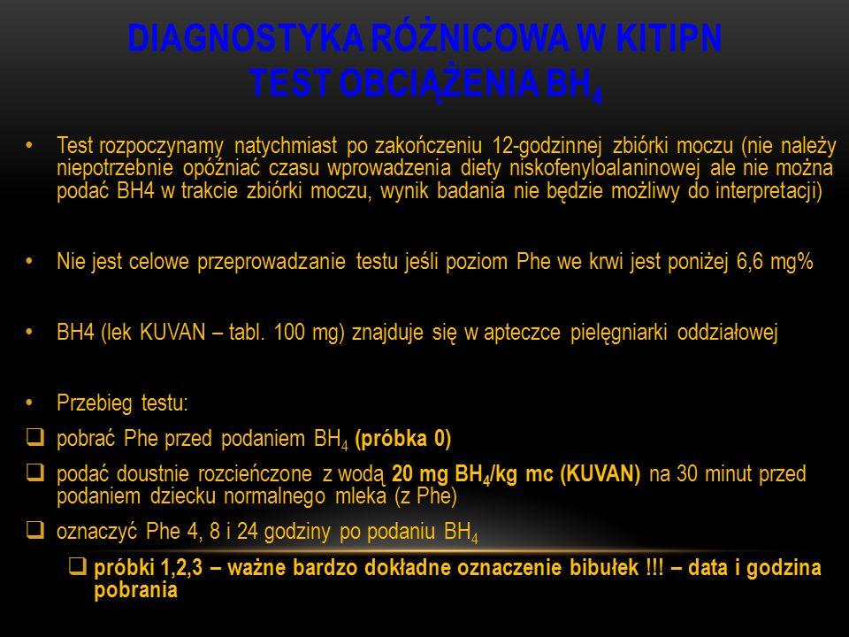 DIAGNOSTYKA RÓŻNICOWA W KITIPN TEST OBCIĄŻENIA BH 4 Test rozpoczynamy natychmiast po zakończeniu 12-godzinnej zbiórki moczu (nie należy niepotrzebnie