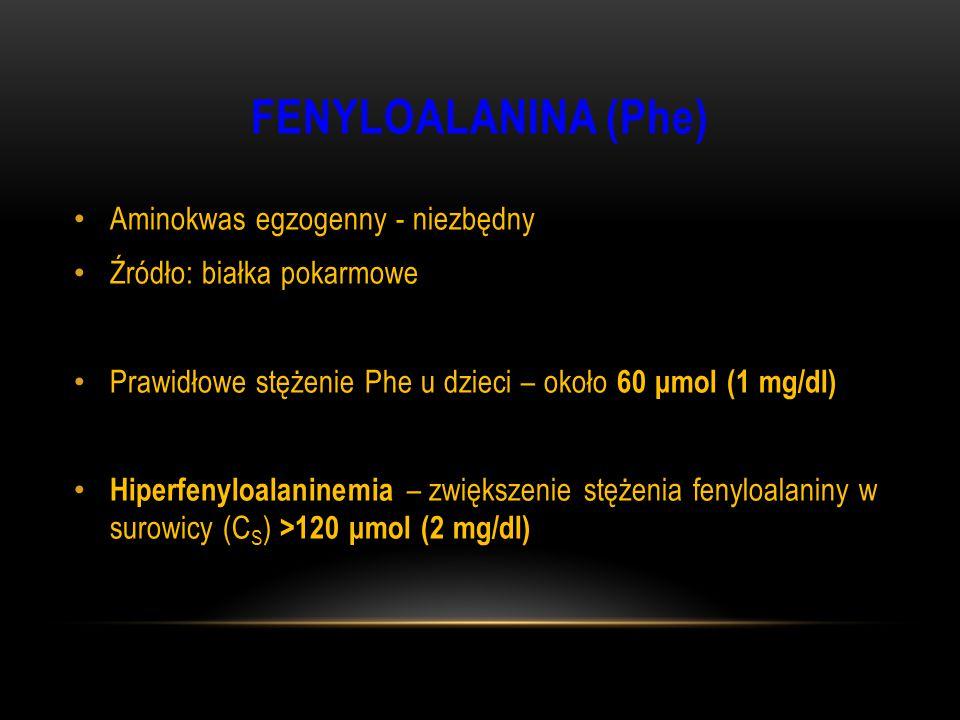 FENYLOALANINA (Phe) Aminokwas egzogenny - niezbędny Źródło: białka pokarmowe Prawidłowe stężenie Phe u dzieci – około 60 μmol (1 mg/dl) Hiperfenyloala