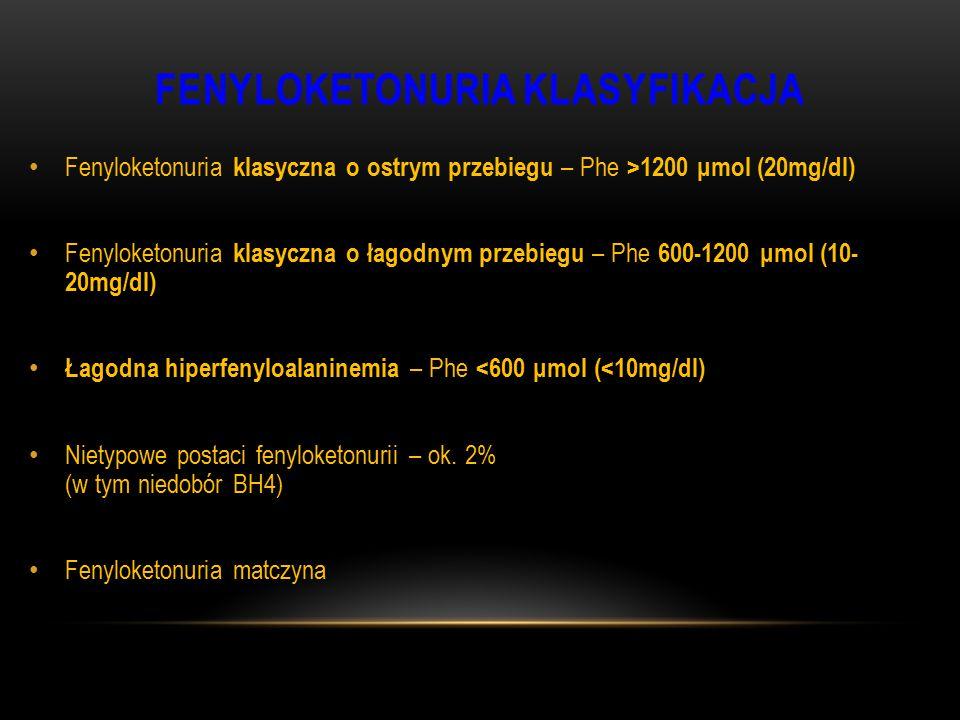 FENYLOKETONURIA KLASYFIKACJA Fenyloketonuria klasyczna o ostrym przebiegu – Phe >1200 μmol (20mg/dl) Fenyloketonuria klasyczna o łagodnym przebiegu –