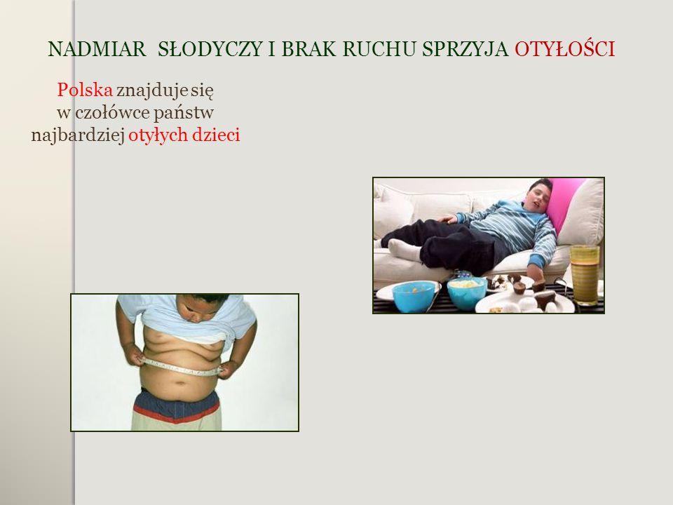 NADMIAR SŁODYCZY I BRAK RUCHU SPRZYJA OTYŁOŚCI Polska znajduje się w czołówce państw najbardziej otyłych dzieci