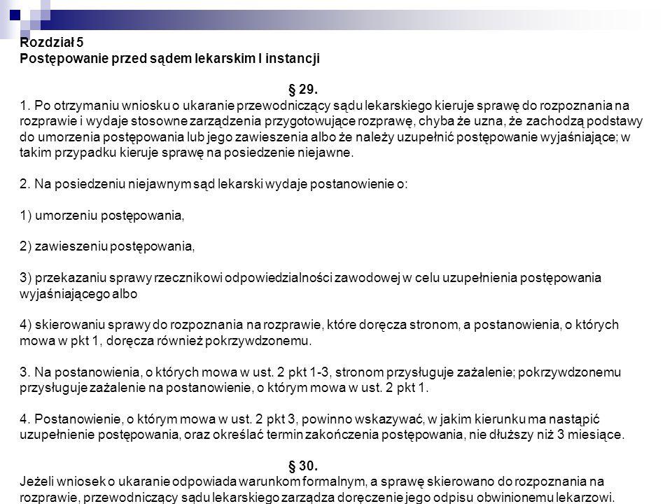 Rozdział 5 Postępowanie przed sądem lekarskim I instancji § 29. 1. Po otrzymaniu wniosku o ukaranie przewodniczący sądu lekarskiego kieruje sprawę do