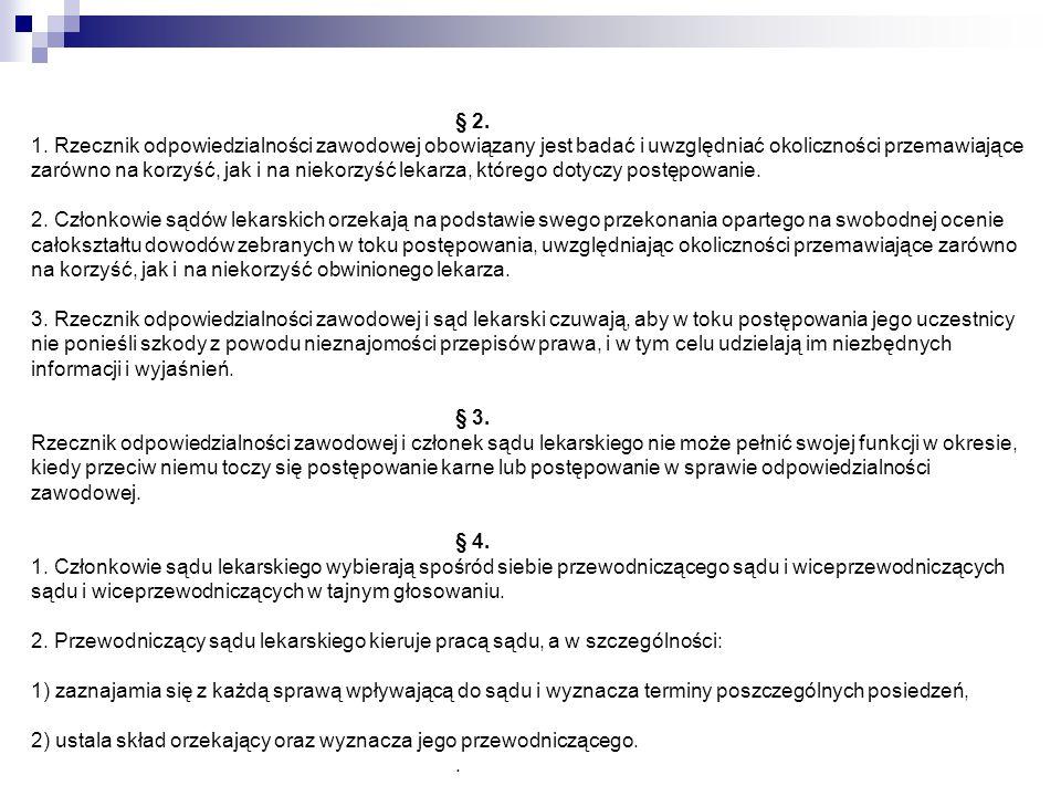 Rozdział 5 Postępowanie przed sądem lekarskim I instancji § 29.