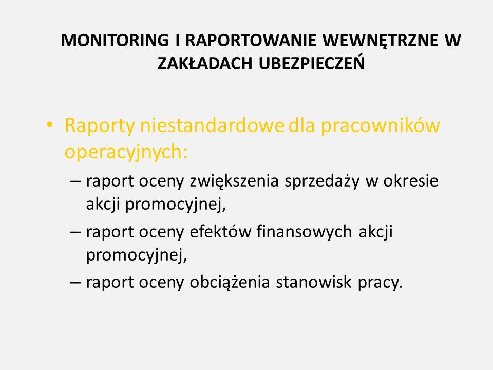 MONITORING I RAPORTOWANIE WEWNĘTRZNE W ZAKŁADACH UBEZPIECZEŃ Raporty niestandardowe dla pracowników operacyjnych: – raport oceny zwiększenia sprzedaży