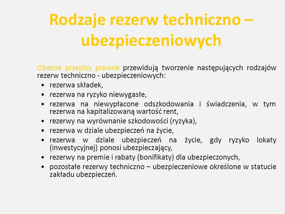 Rodzaje rezerw techniczno – ubezpieczeniowych Obecne przepisy prawne przewidują tworzenie następujących rodzajów rezerw techniczno - ubezpieczeniowych